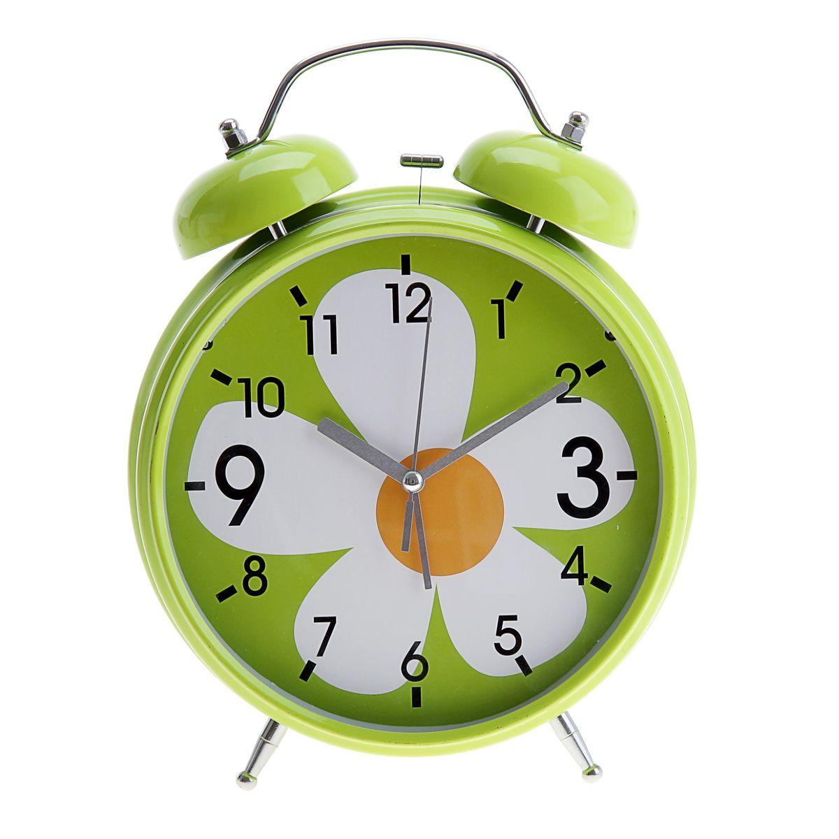 Часы-будильник Sima-land Ромашка, цвет: салатовый, белый, оранжевый, диаметр 20 см корзинка для мелочей sima land цвет оранжевый диаметр 15 см