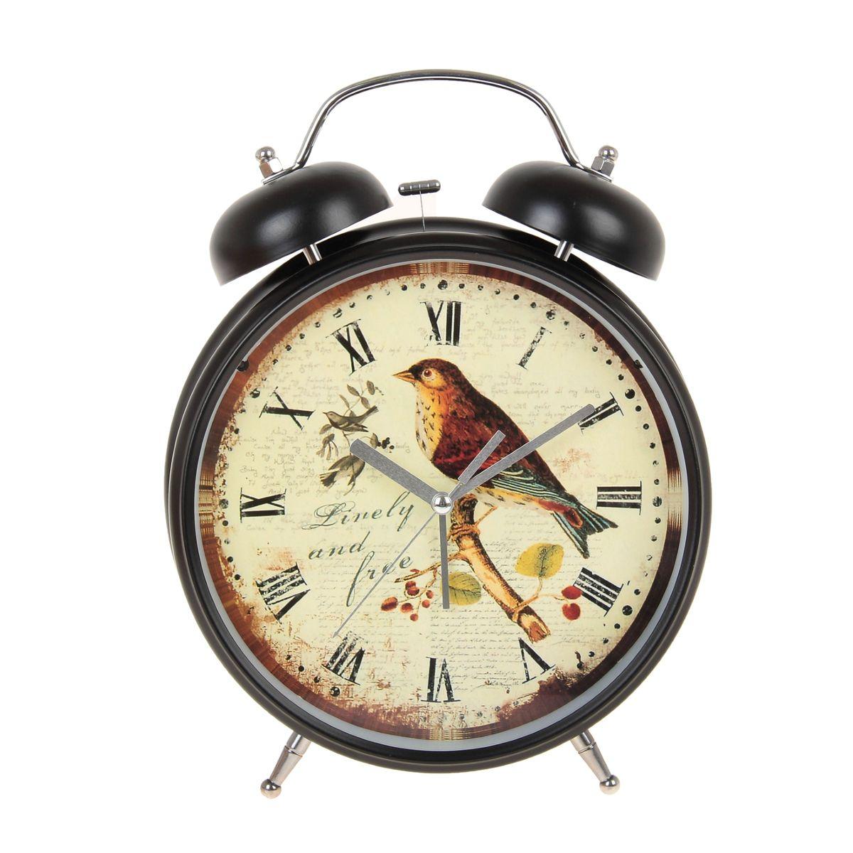 Часы-будильник Sima-land  Linely And Free , цвет: черный, светло-желтый, диаметр 20 см - Радиобудильники и проекционные часы