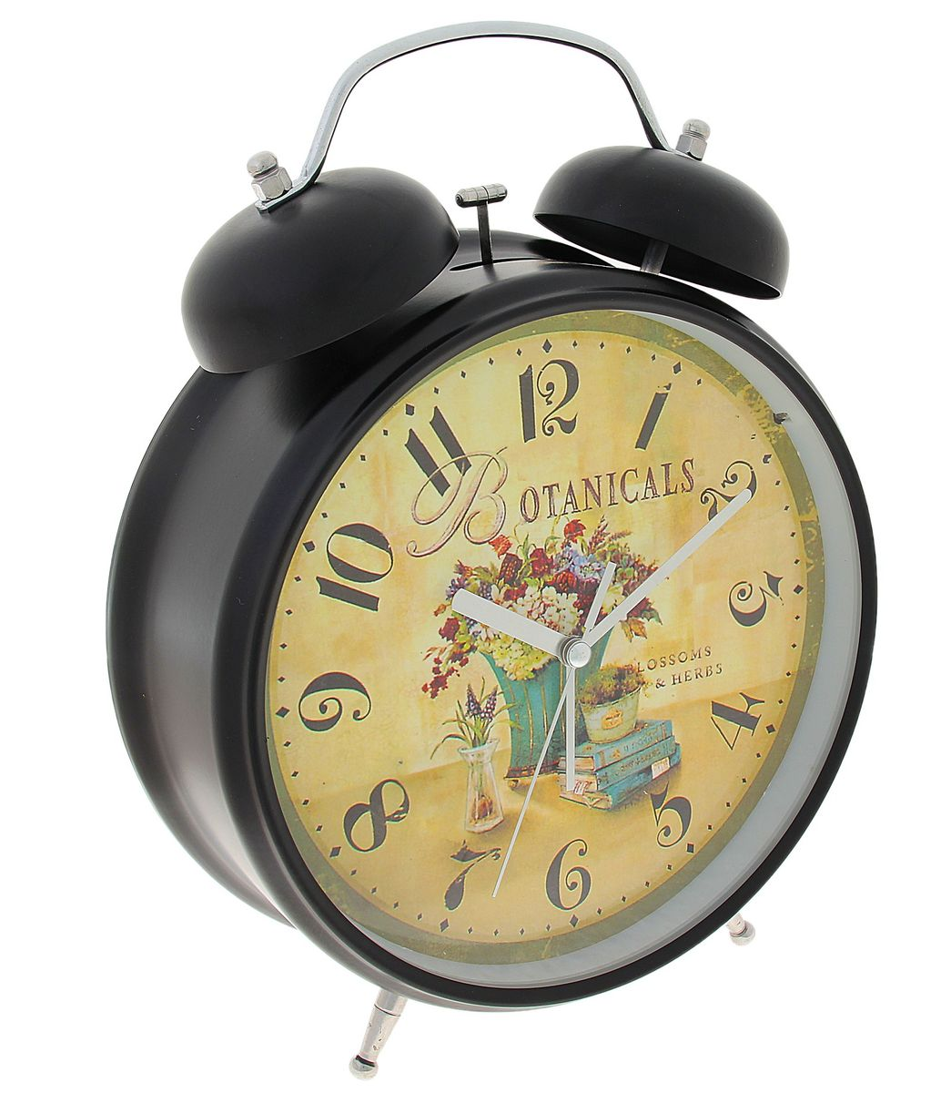 Часы-будильник Sima-land  Botanicals , цвет: черный, бежевый, диаметр 20 см - Радиобудильники и проекционные часы