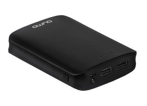 Qumo PowerAid 10400 внешний аккумулятор20032umo PowerAid 10400 позволяет подзарядить телефон или другое мобильное устройство в любом месте, где нет доступа к электричеству. Данная модель имеет высокую емкость, режим автоматического отключения и долгий период сохранения заряда. Оно отлично подходит для походов, путешествий и для тех случаев, когда не хватает емкости стандартного аккумулятора. Встроенный индикатор позволяет следить за уровнем заряда. Два порта USB позволяют одновременно заряжать два устройства. Зарядка совместима со всеми устройствами заряжающимися от порта USB с максимальной силой тока 2 A. Кабель для подключения телефона в комплект не входит!