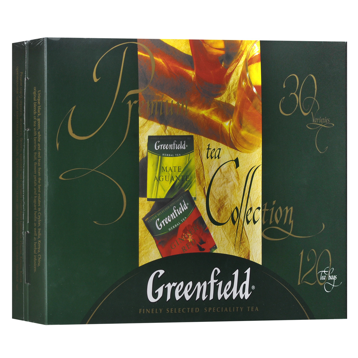 Greenfield набор изысканного чая и чай в пакетиках, 30 видов1074-08Редкие сорта черного, зеленого, белого, красного чая с лучших плантаций Цейлона, Индии, Кении, Китая и Японии. Оригинальные чайные композиции с ягодами, фруктами, лепестками цветов и душистыми травами, травяные чаи. В коробке с набором вложен буклет с описанием каждого вида чая из коллекции Greenfield.Голден ЦейлонПремиум АссанКлассик БрекфастФайн ДжарджилингМеджик ЮньнаньДеликат КимыньКениан СанрайзЭл Грей ФэнтазиМилки ОолонгФлаинг ДрагонДжапаниз СенчаЖасмин ДримКрими РойбошРич КамомайлМатэ АгуантэСамма БукетДжинджер РэдФестив ГрэйпЛотос БризГрин МелиссаТропикал МавелМанго ДелайтБлюберри НайтсКристмас МистериИстэ ЧиэСпринг МелодиБарбери ГарденЛемон СпаркВанила ВэйвШоколад Тоффи