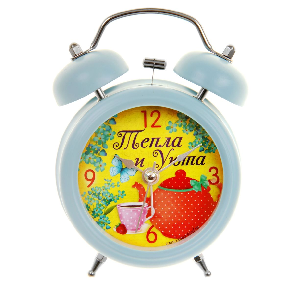 Часы-будильник Sima-land Тепла и уюта839675Как же сложно иногда вставать вовремя! Всегда так хочется поспать еще хотябы 5 минут ибывает,что мы просыпаем. Теперь этого не случится! Яркий, оригинальный будильникSima-land Тепла и уютапоможет вам всегдавставать в нужное время и успевать везде и всюду. Будильник украсит вашукомнату и приведет в восхищение друзей. Время показываетточно и будит вустановленный час. На задней панели будильника расположены переключательвключения/выключения механизма,атакже два колесика для настройки текущего времени и времени звонкабудильника. Также будильник оснащен кнопкой, при нажатии и удержаниикоторой, подсвечивается циферблат.Будильник работает от 1 батарейки типа AA напряжением 1,5V (не входит вкомплект).