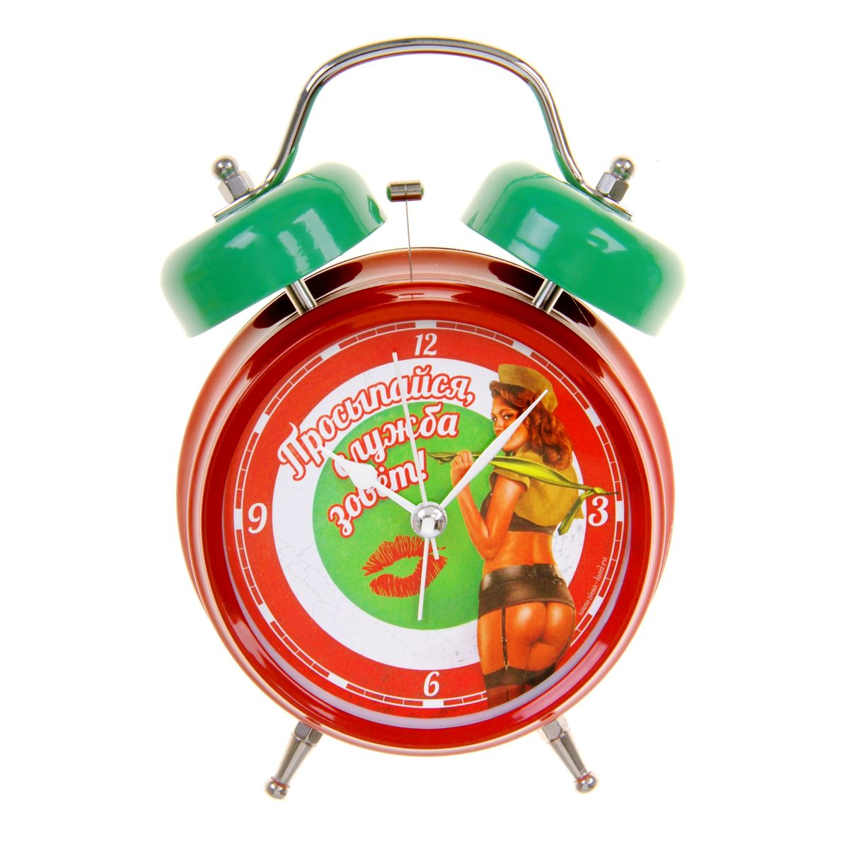 Часы-будильник Sima-land Служба зовет839680Как же сложно иногда вставать вовремя! Всегда так хочется поспать еще хотя бы 5 минут и бывает, что мы просыпаем. Теперь этого не случится! Яркий, оригинальный будильник Sima-land Служба зовет поможет вам всегда вставать в нужное время и успевать везде и всюду.Корпус будильника выполнен из металла. Циферблат оформлен изображением девушки и надписью: Просыпайся, служба зовет!, имеет индикацию арабскими цифрами с отметками. Часы снабжены 4 стрелками (секундная, минутная, часовая и для будильника). На задней панели будильника расположен переключатель включения/выключения механизма, а также два колесика для настройки текущего времени и времени звонка будильника.Пользоваться будильником очень легко: нужно всего лишь поставить батарейки, настроить точное время и установить время звонка. Необходимо докупить 2 батарейки типа АА напряжением 1,5 V (не входят в комплект).