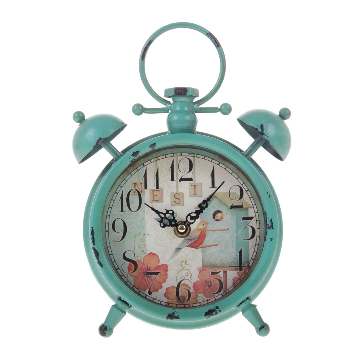 """Часы настольные Sima-land """"Скворечник"""", в виде будильника, цвет: бирюзовый, диаметр 12,5 см"""