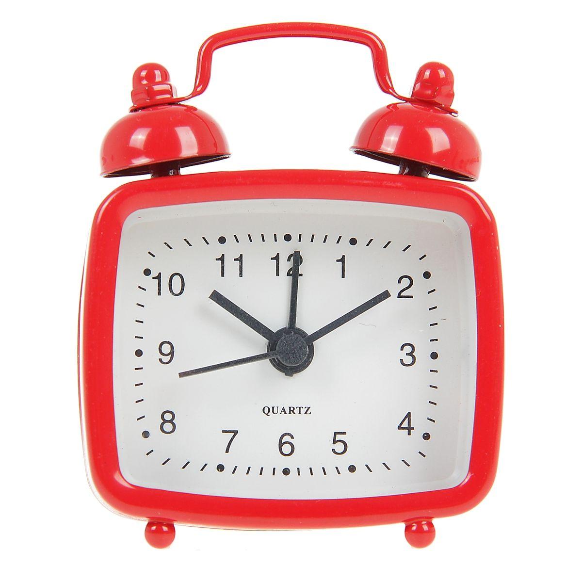 Часы-будильник Sima-land, цвет: красный. 840943840943Как же сложно иногда вставать вовремя! Всегда так хочется поспать еще хотя бы 5 минут и бывает, что мы просыпаем. Теперь этого не случится! Яркий, оригинальный будильник Sima-land поможет вам всегда вставать в нужное время и успевать везде и всюду. Будильник украсит вашу комнату и приведет в восхищение друзей. Эта уменьшенная версия привычного будильника умещается на ладони и работает так же громко, как и привычные аналоги. Время показывает точно и будит в установленный час.На задней панели будильника расположены переключатель включения/выключения механизма, а также два колесика для настройки текущего времени и времени звонка будильника.Будильник работает от 1 батарейки типа LR44 (входит в комплект).