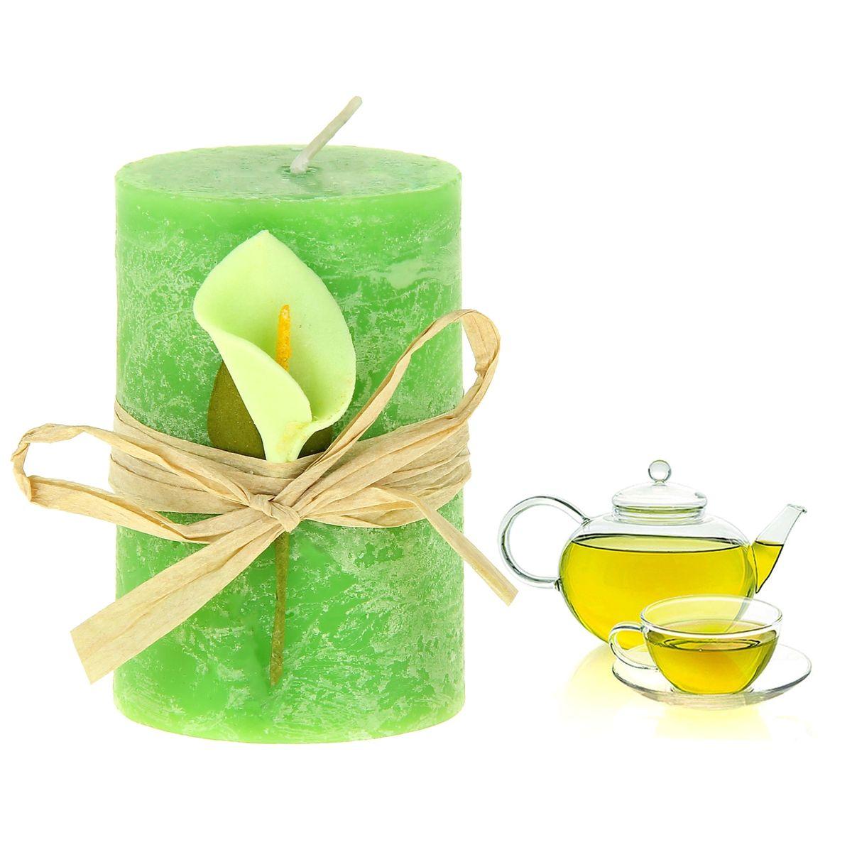 Свеча ароматизированная Sima-land Зеленый чай, высота 7 см849492Ароматизированная свеча Sima-land Зеленый чай изготовлена из воска и оформлена декоративным цветком. Изделие отличается оригинальным дизайном и приятным ароматом зеленого чая. Такая свеча может стать отличным подарком или дополнить интерьер вашей комнаты.