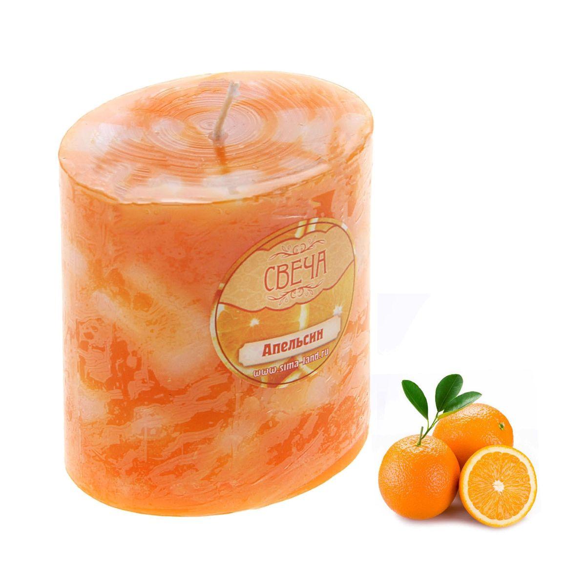 Свеча ароматизированная Sima-land Слияние, с ароматом апельсина, цвет: оранжевый, белый, высота 7 см свеча ароматизированная sima land лимон на подставке высота 6 см
