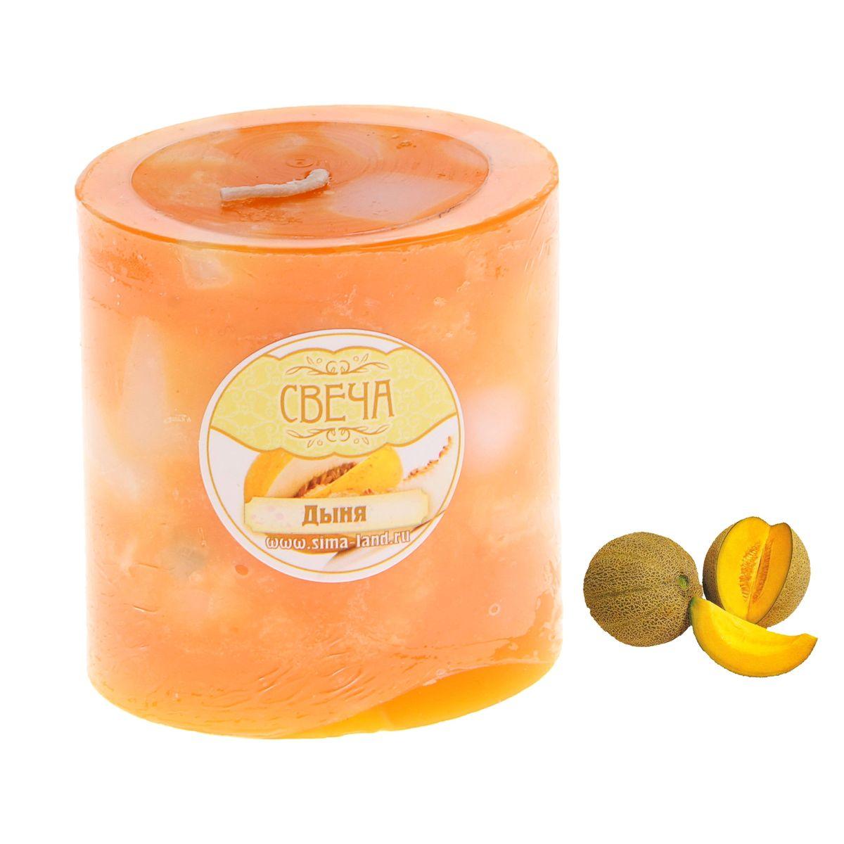 Свеча ароматизированная Sima-land Слияние, с ароматом дыни, цвет: оранжевый, белый, высота 7 см корзинка для мелочей sima land цвет оранжевый диаметр 15 см