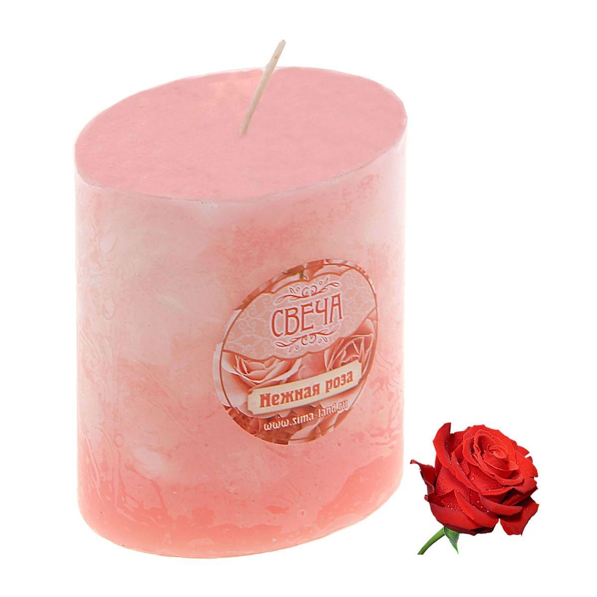 Свеча ароматизированная Sima-land Слияние, с ароматом розы, цвет: розовый, белый, высота 7 см свеча ароматизированная sima land шиповник цвет белый нежно розовый высота 7 5 см
