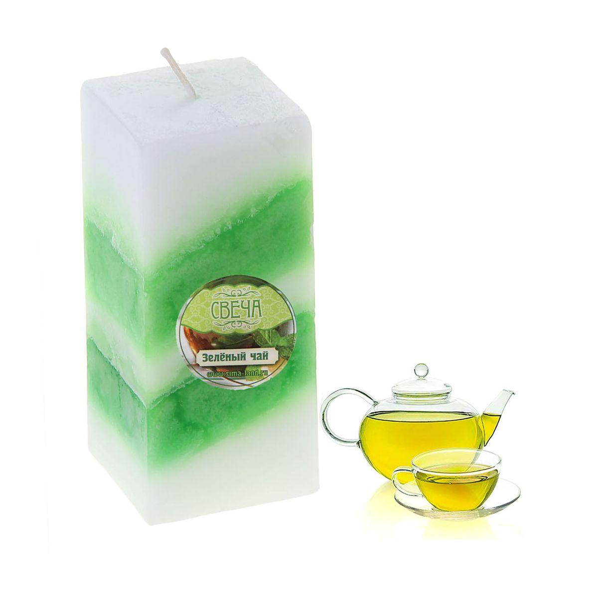 Свеча ароматизированная Sima-land Зеленый чай, высота 10 см