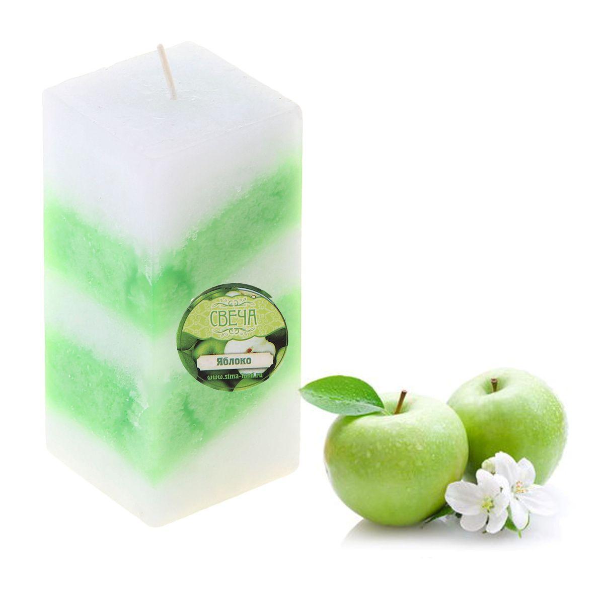 Свеча ароматизированная Sima-land Яблоко, цвет: белый, зеленый, высота 10 см. 849589 свеча ароматизированная sima land лимон на подставке высота 6 см