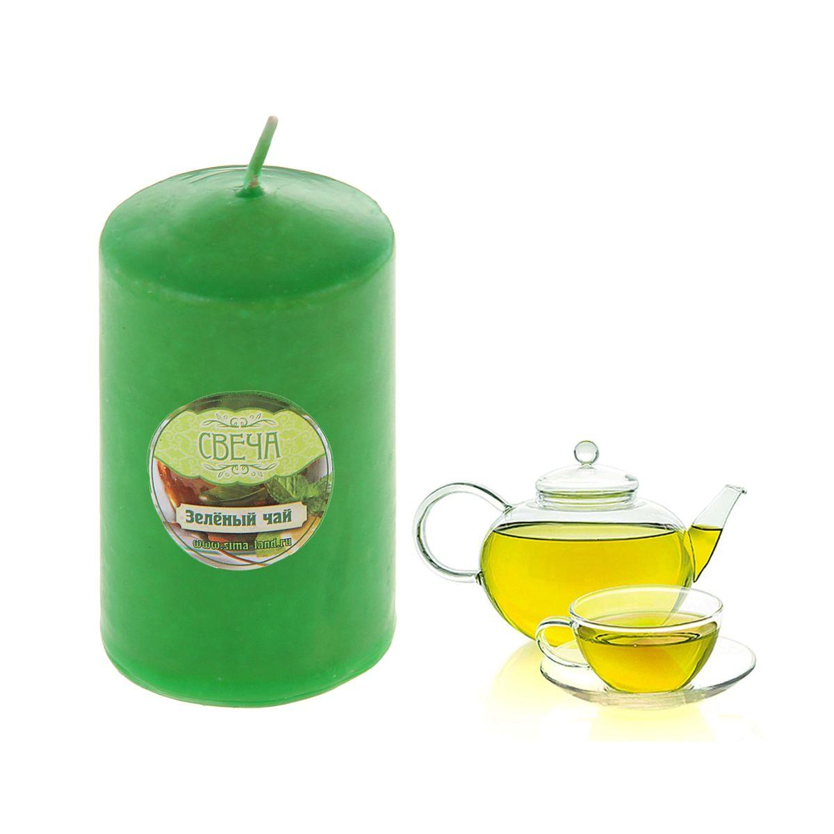 Свеча ароматизированная Sima-land Зеленый чай, высота 10 см. 849605