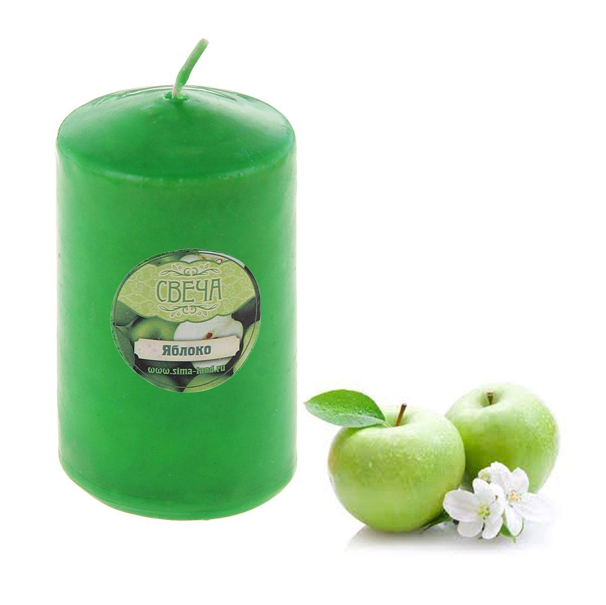 Свеча ароматизированная Sima-land Яблоко, цвет: зеленый, высота 10 см