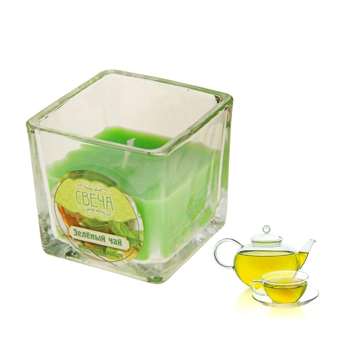 Свеча ароматизированная Sima-land Зеленый чай, высота 5 см свеча ароматизированная sima land лимон на подставке высота 6 см