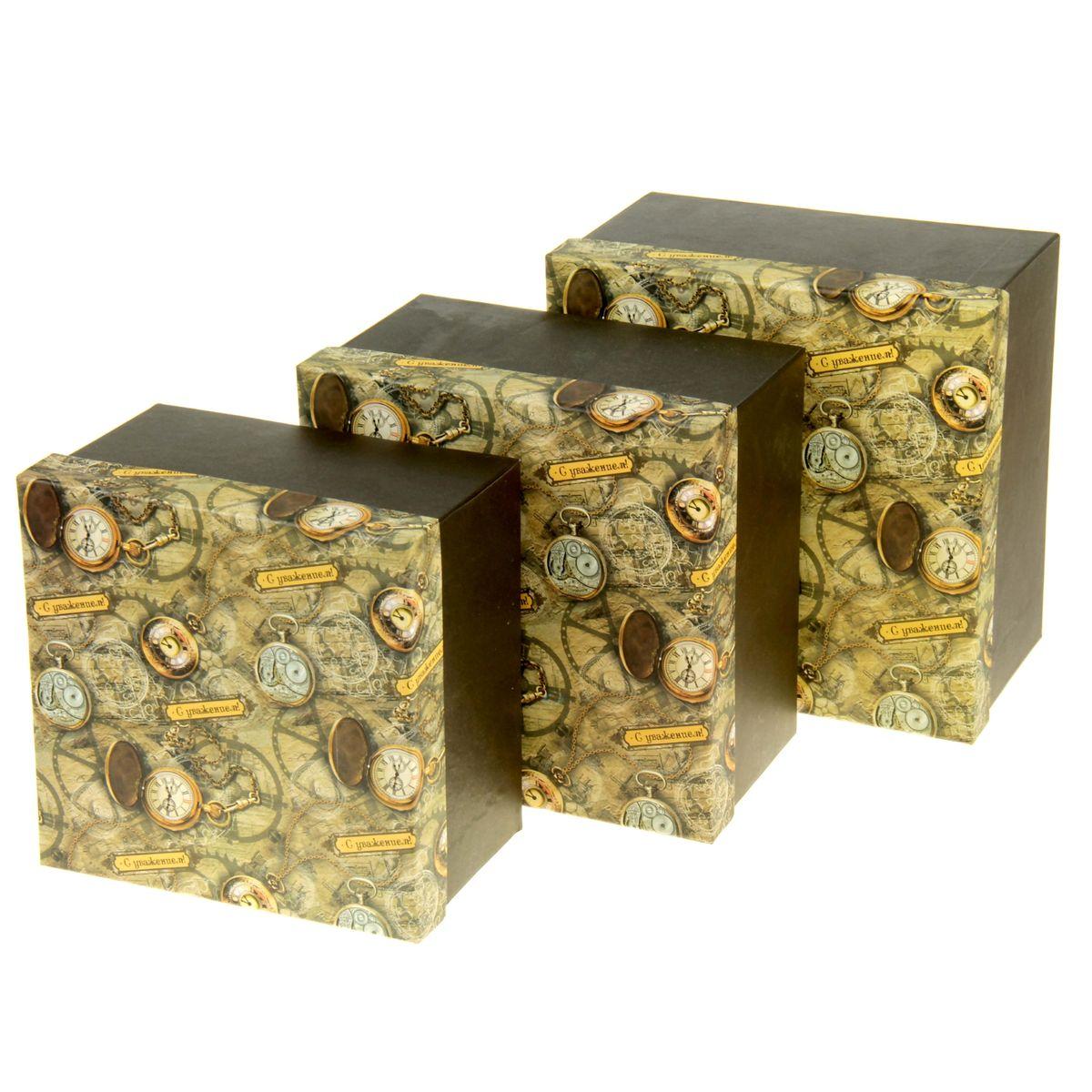 Набор подарочных коробок Sima-land Часы, 3 шт862376Набор Sima-land Часы состоит из 3 подарочных коробок разного размера, выполненных из плотного картона. Крышка оформлена ярким изображением и надписью С уважением!.Подарочная коробка - это наилучшее решение, если вы хотите порадовать вашихблизких и создать праздничное настроение, ведь подарок, преподнесенный воригинальной упаковке, всегда будет самым эффектным и запоминающимся.Окружите близких людей вниманием и заботой, вручив презент в нарядном,праздничном оформлении. Размер большой коробки: 20 см х 20 см х 11,5 см.Размер средней коробки: 18,5 см х 18,5 см х 11 см.Размер маленькой коробки: 17 см х 17 см х 10,5 см.