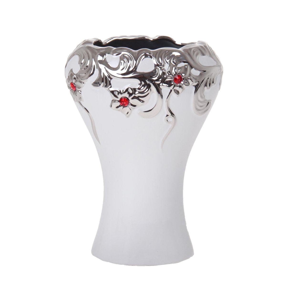 Ваза Изумрудная капля, цвет: белый, серебристый, 24 х 17 х 11 см. 865954865954Элегантная ваза Изумрудная капля выполнена из высококачественной керамики. Изделие имеет гладкую поверхность, декорировано цветочным орнаментом. Оригинальный дизайн вазы придется по вкусу и ценителям классики, и тем, кто предпочитает утонченность и изящность. Вы можете поставить вазу в любом месте, где она будет удачно смотреться и радовать глаз. Такая ваза подойдет и для цветов, и для декора интерьера. Кроме того - это отличный вариант подарка для ваших близких и друзей.