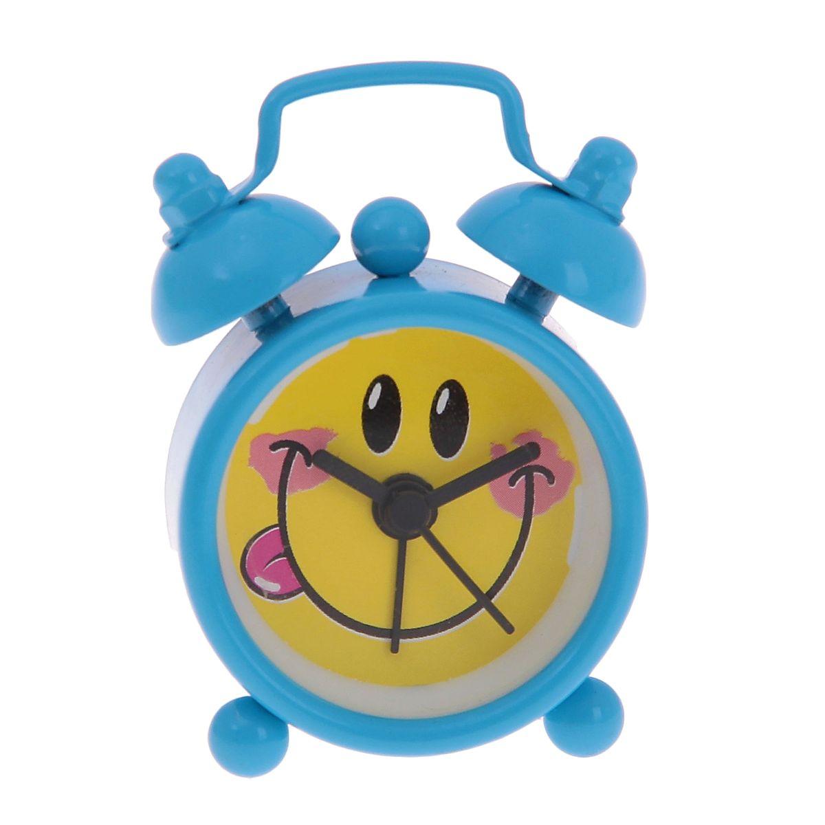 Часы-будильник Sima-land Смайлик, цвет: голубой часы будильник sima land жду встречи