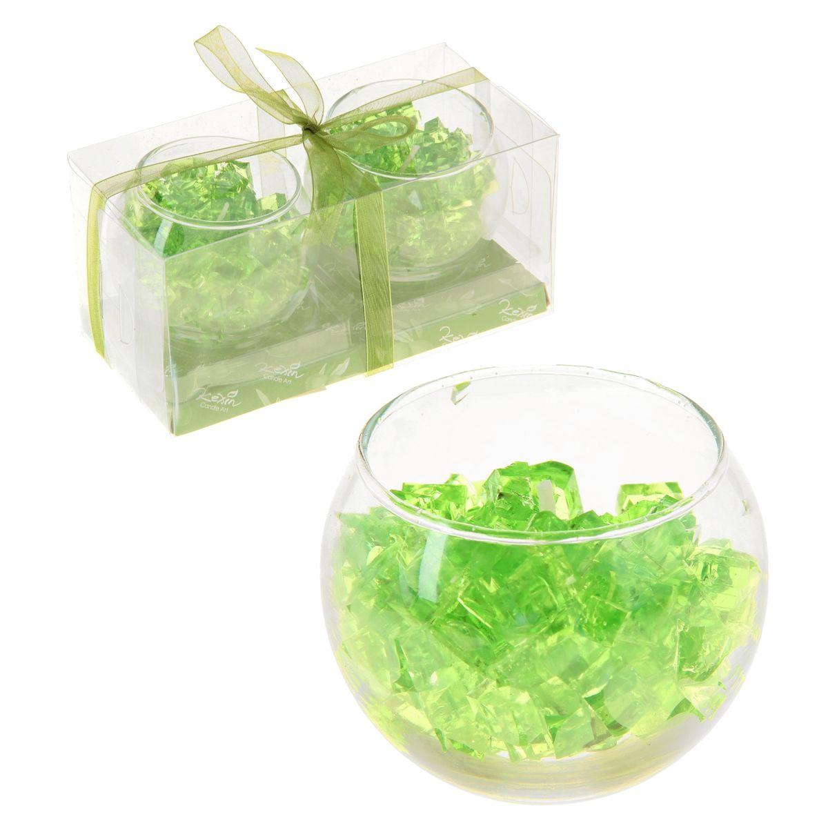 Набор свечей Sima-land Мармелад, цвет: зеленый, 2 шт895602Набор Sima-land Мармелад. Зеленое яблоко, выполненный из геля, состоит из двух декоративных свечей. Свечи расположены в стеклянных бокалах. Изделия порадуют вас своим дизайном и приятным ароматом яблока. Такой набор может стать отличным подарком или дополнить интерьер вашей комнаты.