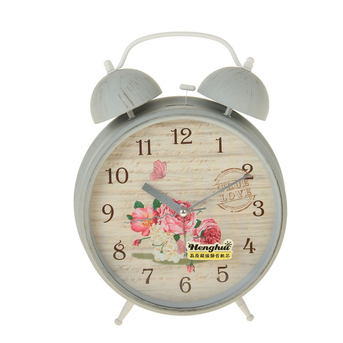 """Часы-будильник Sima-land """"Цветы"""", цвет: кремовый, серый, диаметр 20 см"""