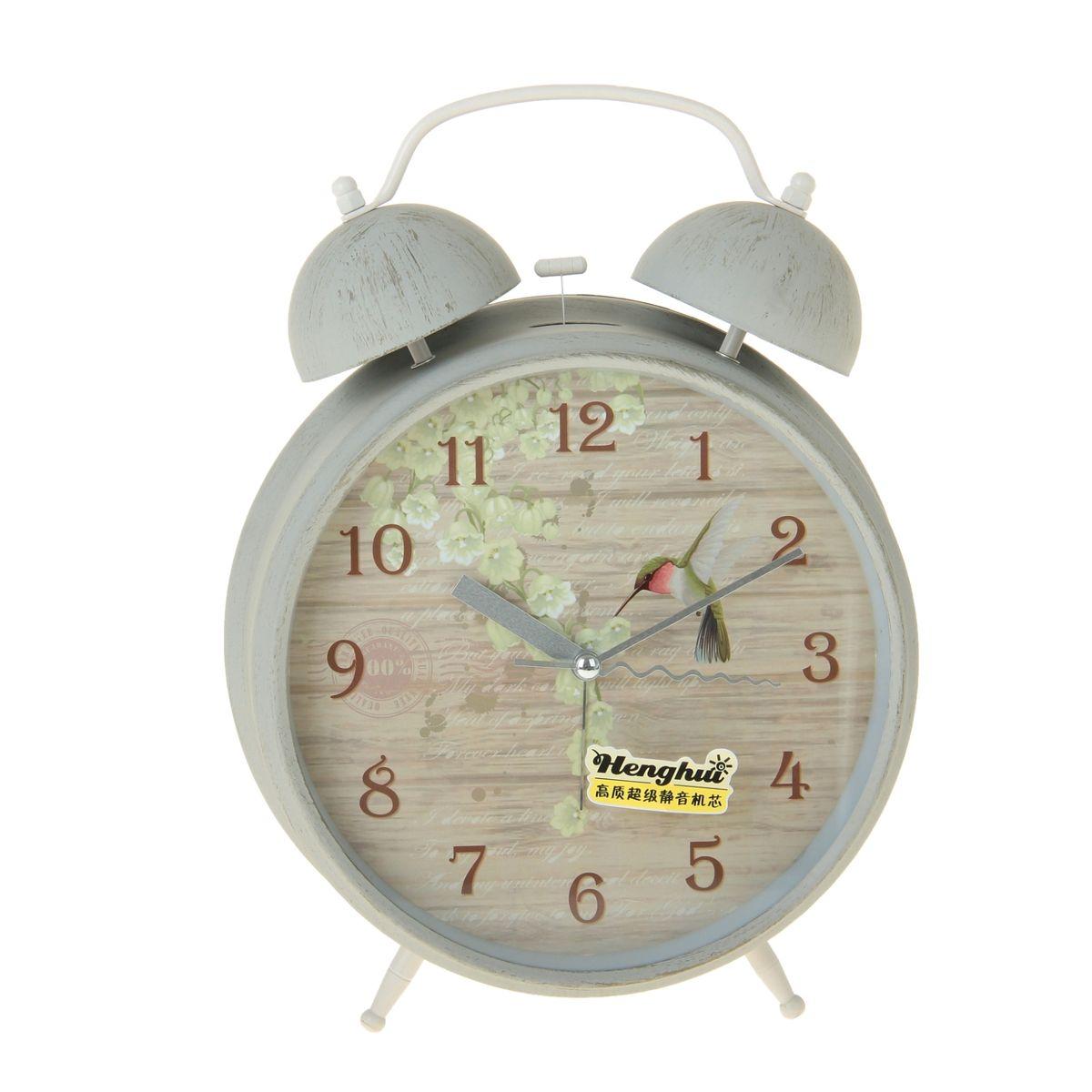 Часы-будильник Sima-land  Птичка с цветами , диаметр 20 см - Радиобудильники и проекционные часы