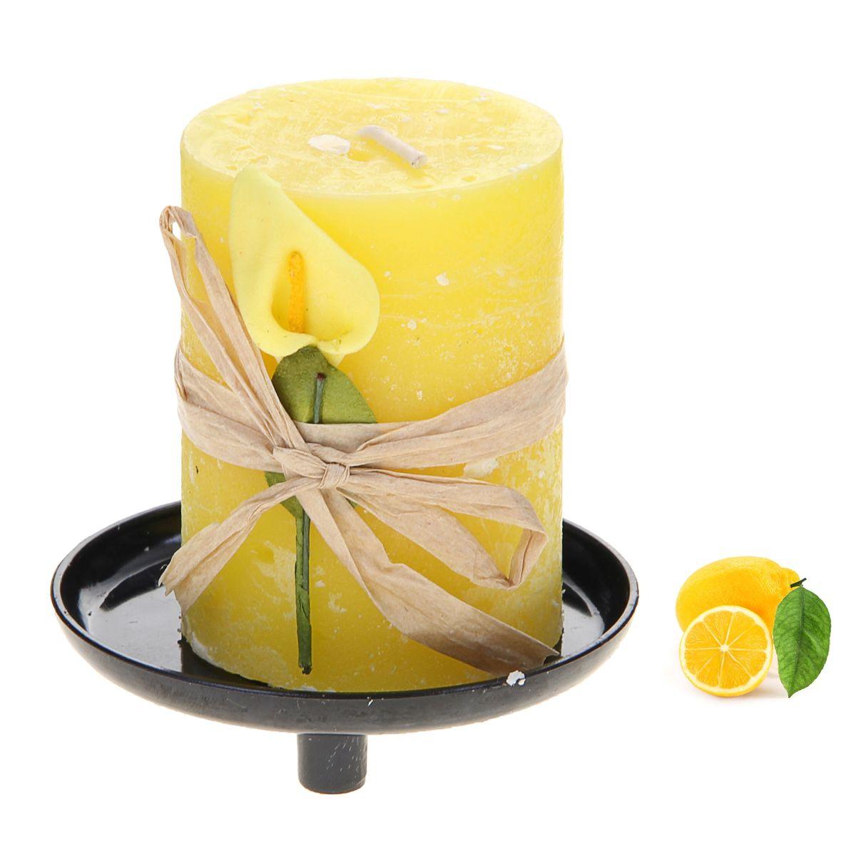 Свеча ароматизированная Sima-land Лимон, на подставке, высота 6 см907697Свеча Sima-land Лимон выполнена из воска в виде столбика. Свеча порадует ярким дизайном и сочным ароматом лимона, который понравится как женщинам, так и мужчинам. Изделие размещено на оригинальной пластиковой подставке.Создайте для себя и своих близких незабываемую атмосферу праздника в доме. Ароматическая свеча Sima-land Лимон раскрасит серые будни яркими красками.Высота свечи (без учета подставки): 6 см. Высота подставки: 1,5 см.