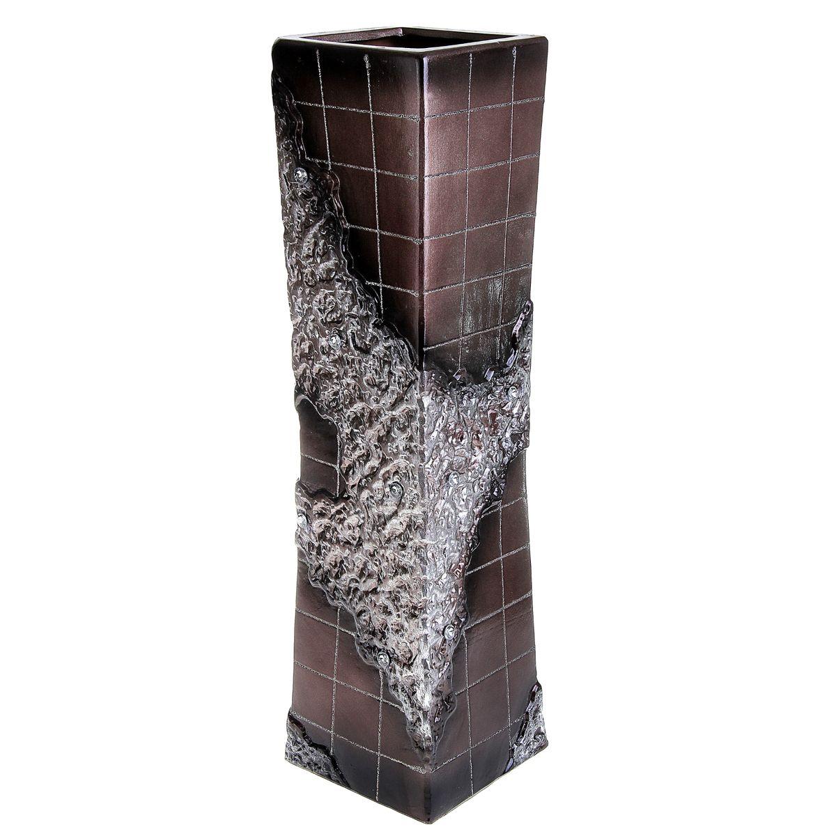Ваза напольная Цветочная плитка, цвет: коричневый, высота 60 см. 913546913546Керамика