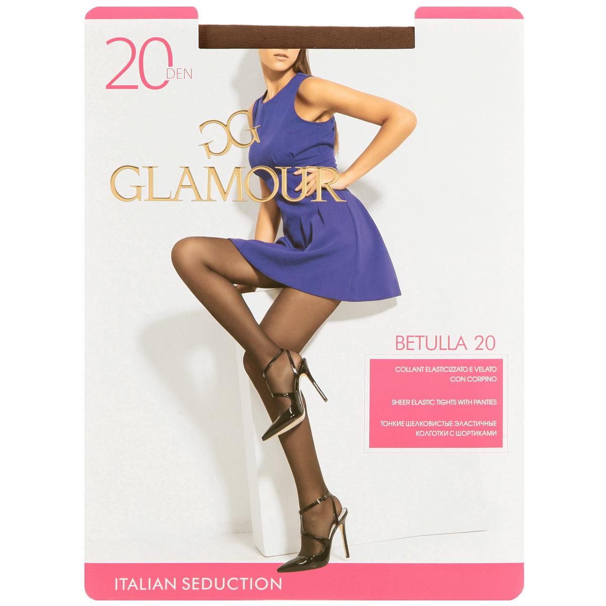 Колготки женские Glamour Betulla 20, цвет: Daino (загар). Размер 4 (L) колготки omsa attiva размер 5xl плотность 20 den daino