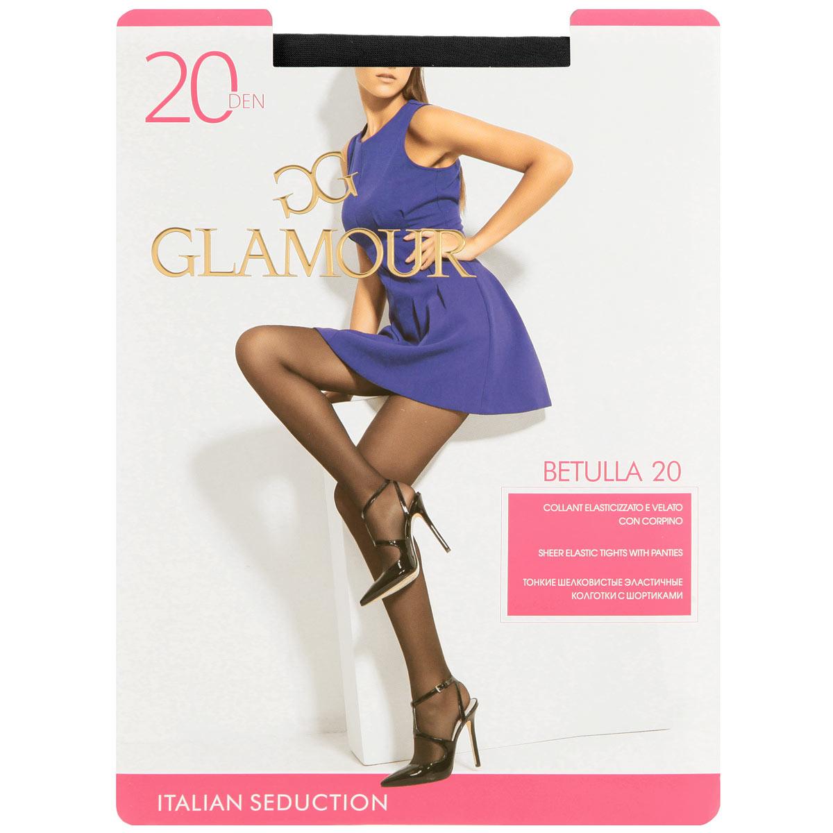 Колготки женские Glamour Betulla 20, цвет: Nero (черный). Размер 4 (L)Betulla 20Тонкие шелковистые эластичные колготки с шортиками, комфортным поясом, укрепленным прозрачным мыском. Плотность: 20 den.