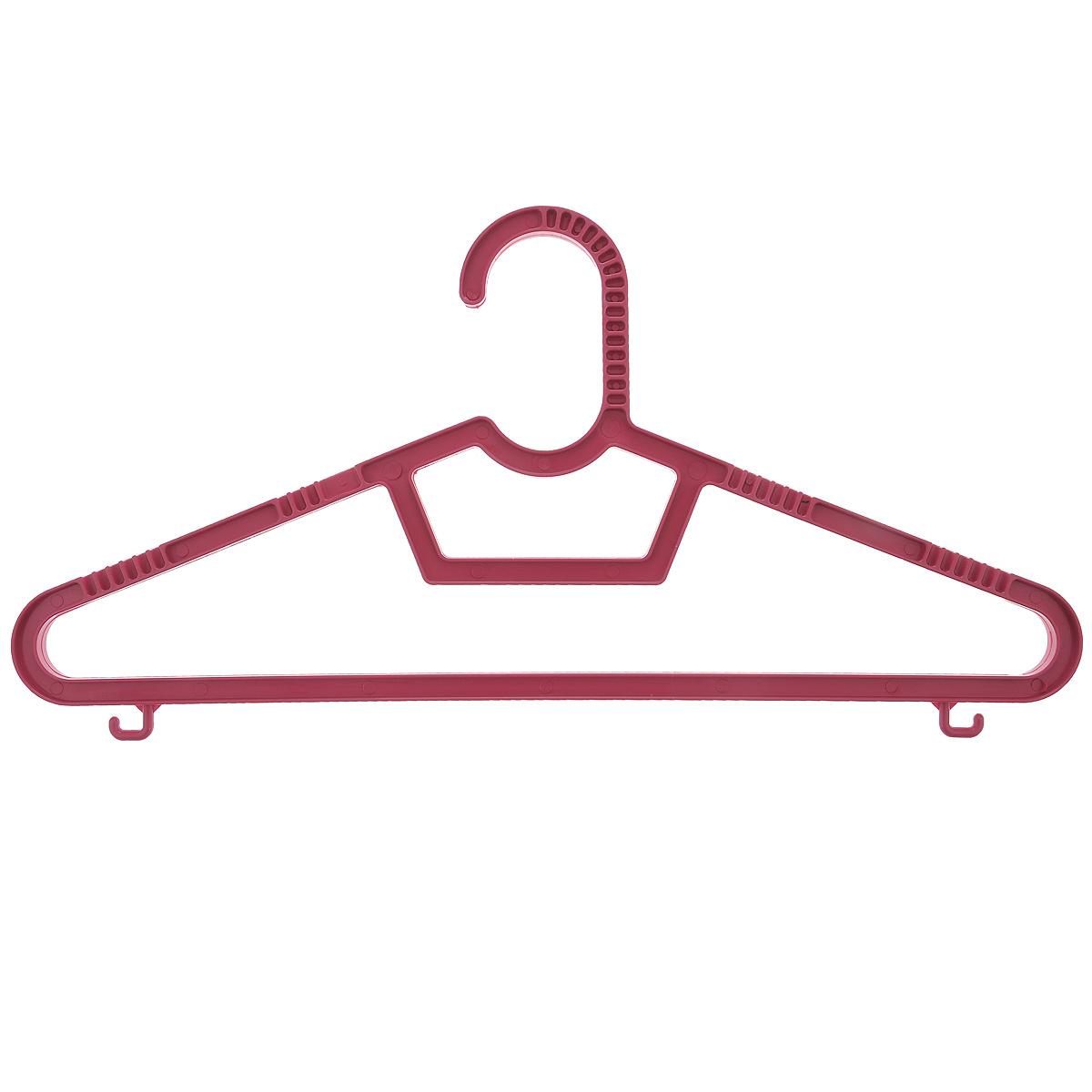 """Набор вешалок """"Полимербыт"""" выполнен из пластика. Изделия оснащены перекладинами и крючками.  Вешалка - это незаменимая вещь для того, чтобы ваша одежда всегда оставалась в хорошем состоянии.  Комплектация: 3 шт. Размер одежды: 40-42."""