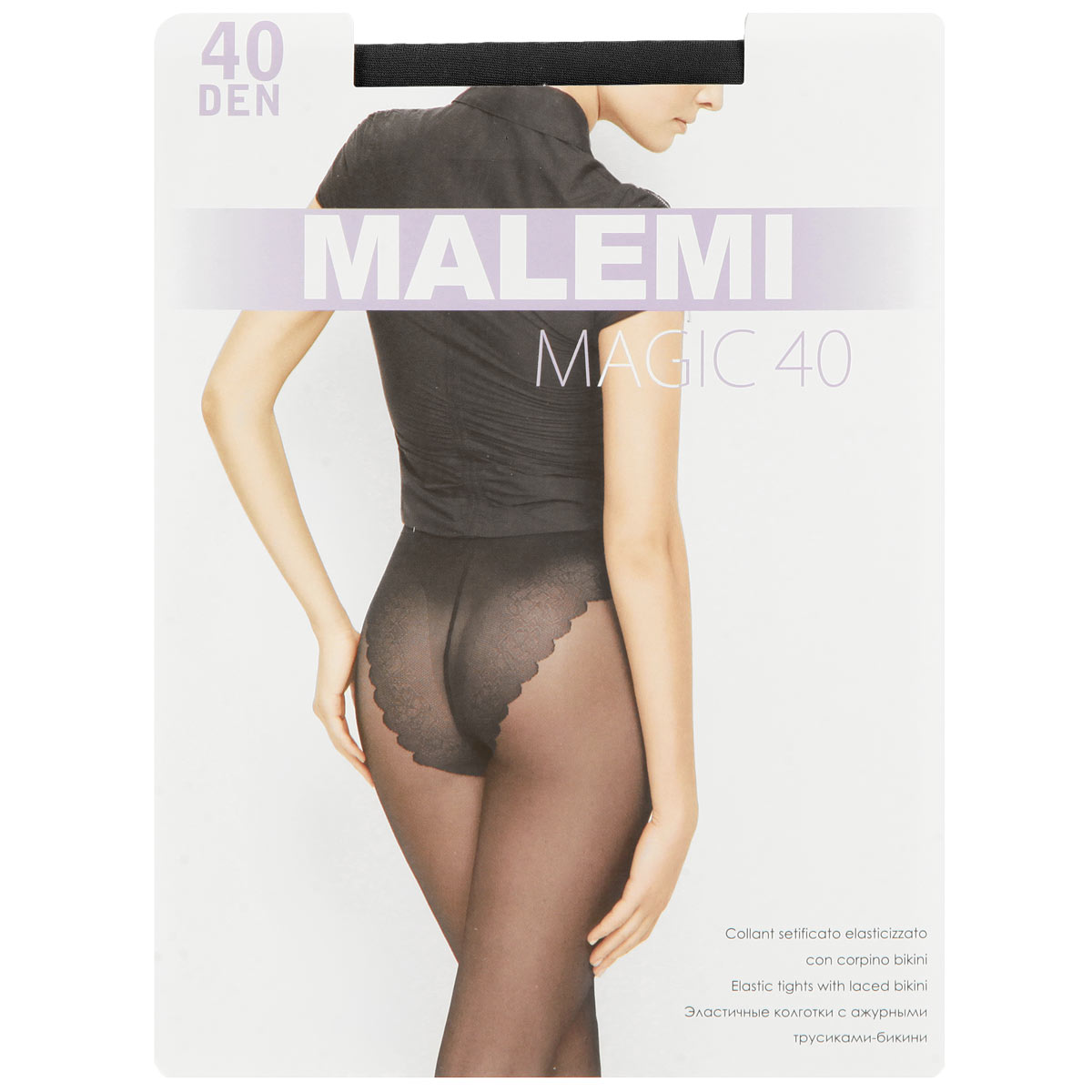 Колготки женские Malemi Magic 40, цвет: Nero (черный). Размер 3 (M)Magic 40Эластичные колготки с ажурными трусиками-бикини. Комфортный пояс, гигиеническая ластовица, укрепленный прозрачный мысок. Плотность: 40 den.