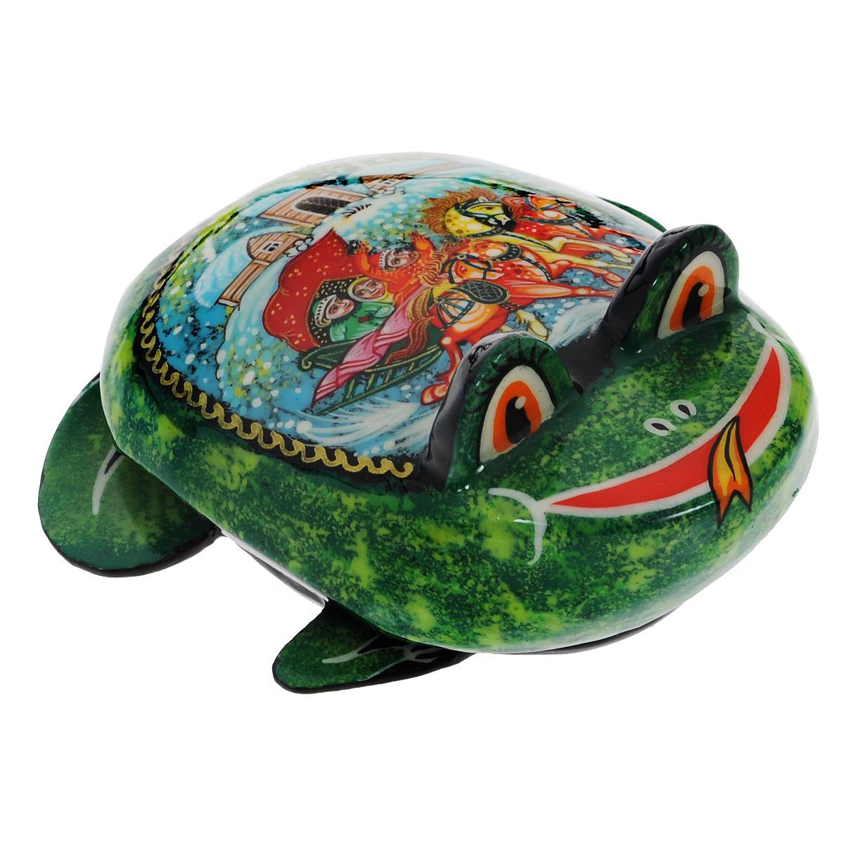 Лаковая миниатюра-шкатулка Палех Лягушка, цвет: зеленый, 5 см. Ручная работа сувениры