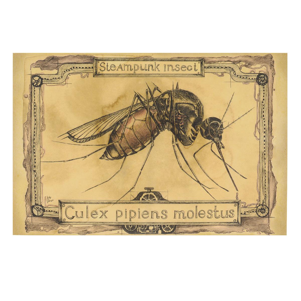 """Оригинальная дизайнерская открытка """"Комар"""" из серии """"Steampunk Insect"""" выполнена из плотного матового картона. На лицевой стороне расположена репродукция картины художницы Марии Скородумовой. Такая открытка станет великолепным дополнением к подарку или оригинальным почтовым посланием, которое, несомненно, удивит получателя своим дизайном и подарит приятные воспоминания."""