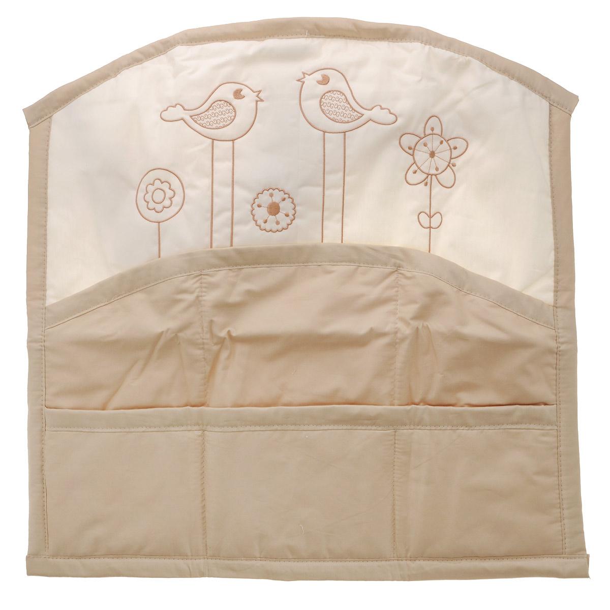 Карман на кроватку Fairy Волшебная полянка, цвет: белый, бежевый, 59 см х 60 см fairy сумка для пеленок и подгузников жирафик