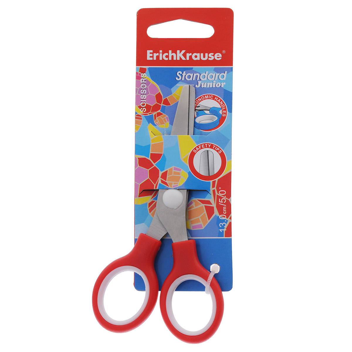 Ножницы Erich Krause Standard Junior, цвет: красный, 13 см ножницы erich krause ferro 15 см