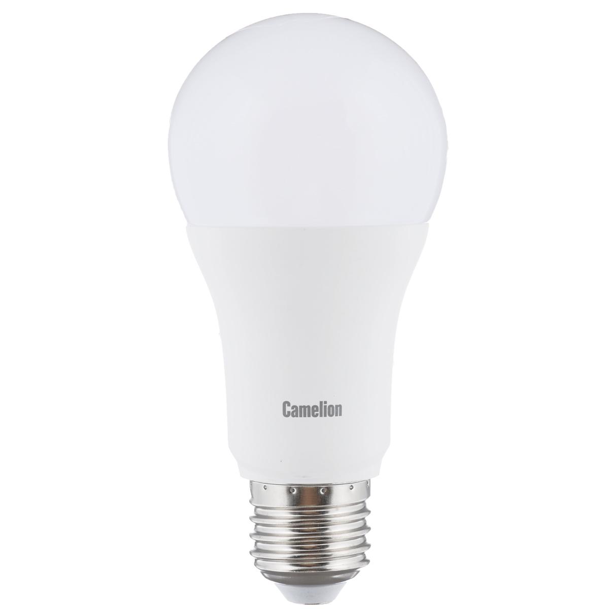 Светодиодная лампа Camelion Led Ultra, теплый свет, цоколь E27, 12 WLED12-A60/830/E27Светодиодная рефлекторная лампа Camelion Led Ultra применяется для замены энергосберегающей лампы или лампы накаливания в точечных и направленных источниках света. При этом она сэкономит ваши деньги за счет минимального потребления электроэнергии и долгого срока службы. Так же эта лампа обладает высоким индексом цветопередачи и не мерцает, что делает ее свет комфортным для глаз. Нагрев LED лампы минимален, что позволяет использовать ее в натяжных потолках и других конструкциях, требовательных к температурному режиму. При производстве светодиодных ламп не используются вредные вещества, в том числе ртуть, поэтому не требует утилизации. Рабочий диапазон напряжений - 220-240В / 50Гц. Индекс цветопередачи: 77+.Угол светового луча: 240°.Коэффициент пульсации освещенности (Кп): менее 1%.