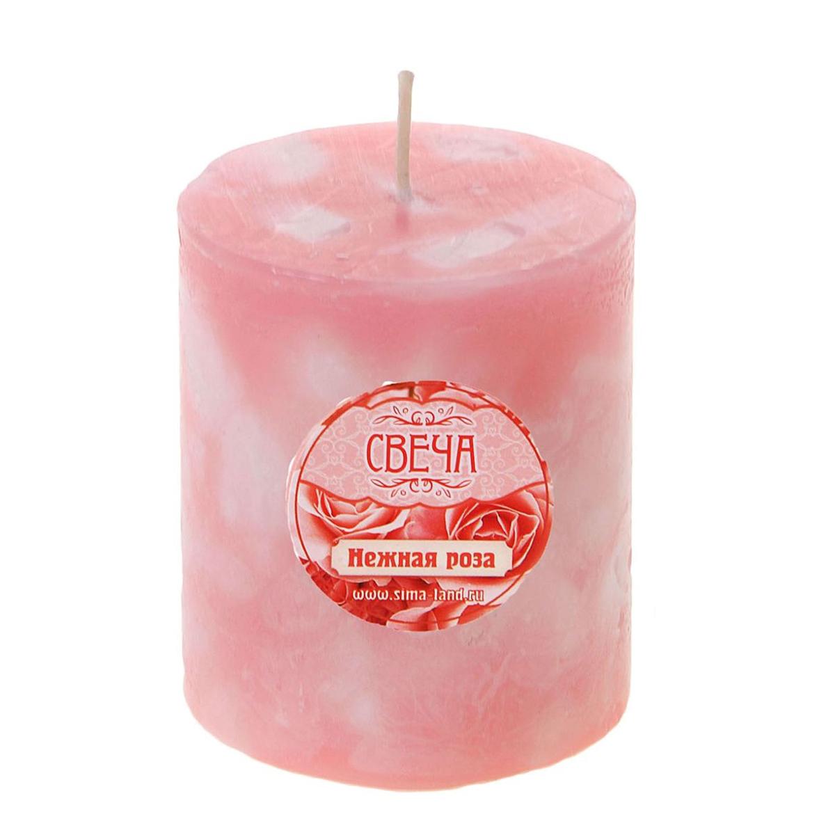 Свеча ароматизированная Sima-land Нежная роза, высота 7 см свеча ароматизированная sima land шиповник высота 7 5 см 907667