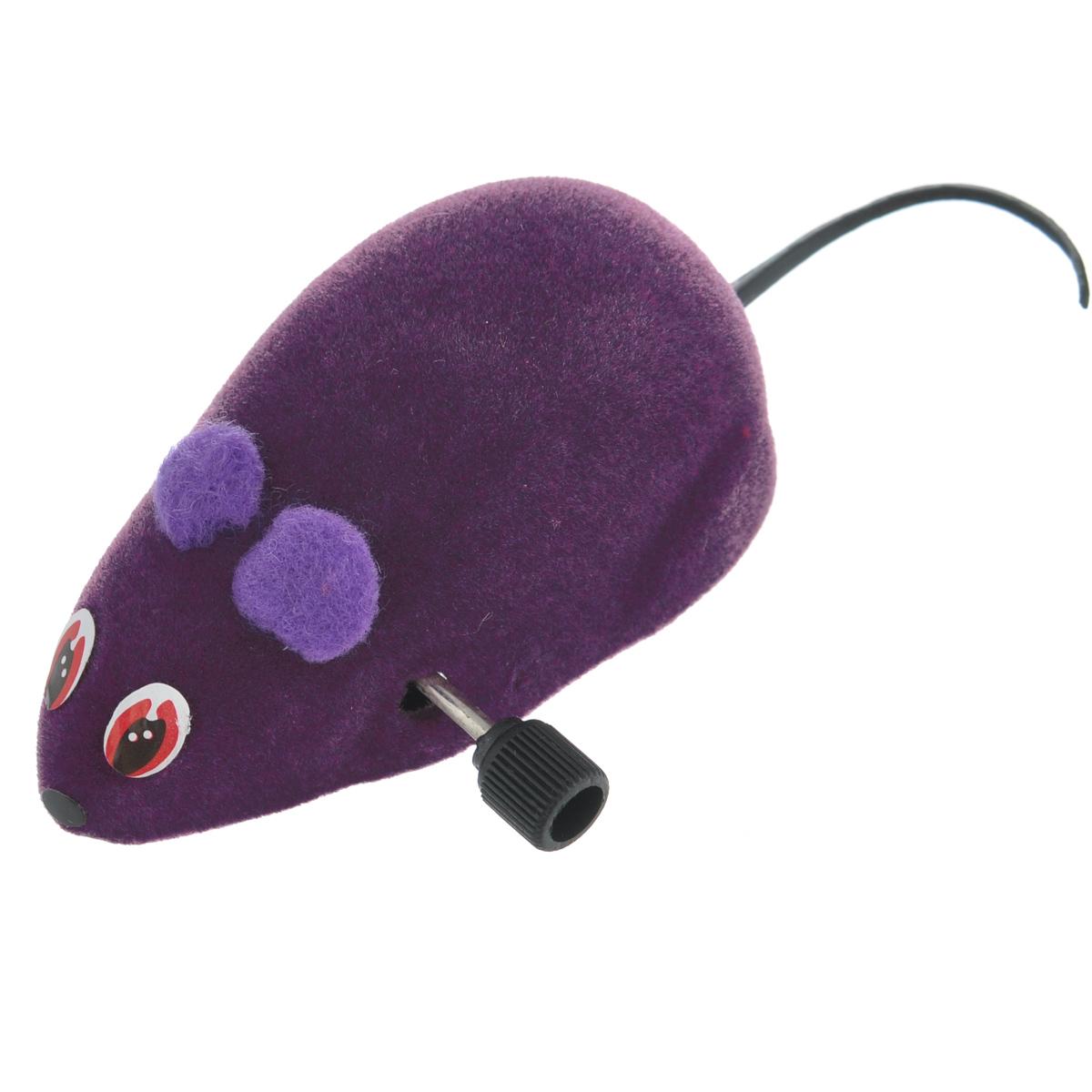 Игрушка для кошек Beeztees Мышь заводная, 440377 цвет: фиолетовый игрушка для кошек трикси мышка заводная 7 см