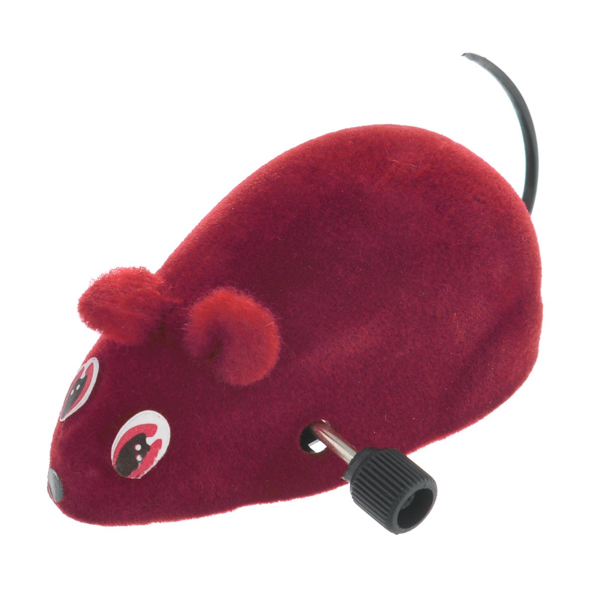Игрушка для кошек Beeztees Мышь заводная, цвет: бордовый игрушка для кошек beeztees мяч светящийся 422078
