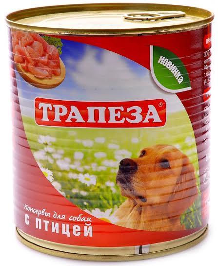 Консервы для собак Трапеза, с птицей, 750 г54367Корм для собак Трапеза с птицей, изготовлен из натурального российского мясного сырья. Не содержит сои,ароматизаторов, искусственных красителей, генномодифицированных ингредиентов.Состав: мясо птицы, субпродукты, натуральная желирующая добавка, злаки(не более 2%), соль, вода.Пищевая ценность в 100 г продукта: протеин 8,0%, жир 7,0%, зола 2,0%, клетчатка 1,0%, влага 80%, углеводы 4,0%.Энергетическая ценность в 100г продукта: 111 ккал.Суточная норма 25 - 35 грамм на 1 кг веса животного.Использовать при комнатной температуре.Хранить при температуре от 0C до +25C и относительной влажности неболее 75%.Открытую банку хранить в холодильнике не более двух суток.Товар сертифицирован.