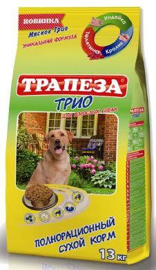 Корм сухой для собак Трапеза Трио, с индейкой, кроликом и телятиной, 13 кг54949Корм Трапеза Трио содержит желатин, который способствует улучшению свертываемости крови у собак. Телятина - это мясо, в котором присутствуют особые экстрактивные вещества. они стимулируют выделение желудочного сока. Это помогает улучшить аппетит и процессы пищеварения у собак, повышает усваиваемость пищи. Стимулирует кровообращение. Благодаря наличию в этом продукте питания таких витаминов как B6, B12, B2, PP животные, употребляющие в пищу мясо индейки отличаются красивой, здоровой, блестящей шерстью. Если регулярно добавлять в рацион вашей собаки индейку - у нее никогда не будет аллергических реакций По содержанию белков оно уступает только индюшке. Причем, уже доказано, что организм собак усваивает 90% белка из мяса крольчатины, тогда как из говядины, только 60%. Оно содержит гораздо меньше воды, хотя само сочное и нежное, чем-то напоминает куриное. Уникальное сочетание трех видов мяса: кролика, телятины, индейки. Укрепляет иммунитет. Способствует правильной работе кишечника. Не содержит сои, красителей, ароматизаторов и ГМО.Специальные кусочки-крокеты уменьшают образование зубного камня. Состав: злаки, пшеничные отруби, мясо и продукты животного происхождения (в т.ч. телячья печень, индейка, печень кролика), экстракт белка растительного происхождения, подсолнечное масло, гидролизированная печень, минеральные добавки (в т.ч. глюкозамин), пульпа сахарной свеклы (жом), витамины, антиоксидант. Пищевая ценность на 100 г: протеин - 26 г, жир - 15 г, зола - 7 г, клетчатка - 5 г, кальций - 1,2 г, фосфор - 1 г.Энергетическая ценность на 100 г: 320 ккал.Товар сертифицирован.