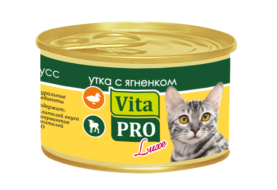 Консервы Vita Pro Luxe для кошек от 1 года, с уткой и ягненком, мусс, 85 г консервы для котят vita pro luxe мусс с курицей 85 г