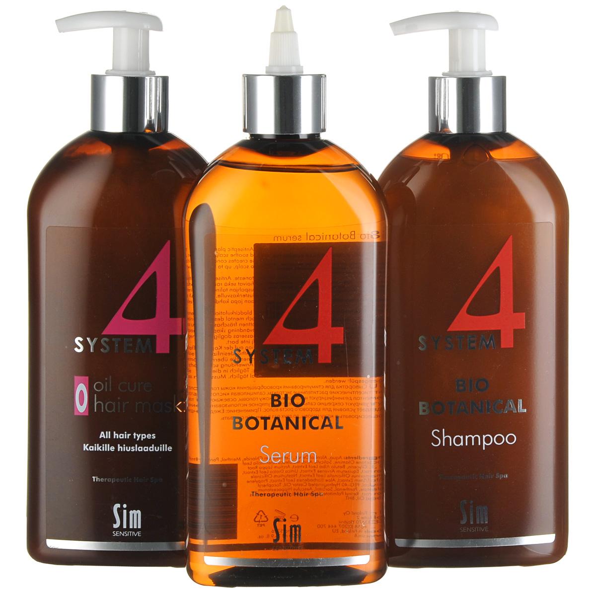 SIM SENSITIVE МАКСИ Комплекс от выпадения волос SYSTEM 4 : Био Ботанический шампунь SYSTEM 4 (500мл), Био Ботаническую сыворотку SYSTEM 4 (500мл), Терапевт. маскаО SYSTEM 4 (500мл), маленький пакет50404ОСТАНАВЛИВАЕТ ВЫПАДЕНИЕ ВОЛОС СОЗДАЕТ УСЛОВИЯ ДЛЯ РОСТА НОВЫХ ЗДОРОВЫХ ВОЛОС ПИТАЕТ ВОЛОСЯНЫЕ ЛУКОВИЦЫ И НОРМАЛИЗУЕТ МИКРОЦИРКУЛЯЦИЮ КОЖИ ГОЛОВЫ Трихологами доказано, что в борьбе с выпадением волос решающим фактором является время. Если вы игнорируете симптомы болезни и затягиваете с профессиональным лечением, то вы рискуете потерять волосяные покровы безвозвратно. Комплекс от выпадения волос «Систем 4» включает средства, работающие в 3 этапа: Этап 1. Глубокое очищение кожи головы Этап 2. Насыщение волосяных луковиц питательными веществами Этап 3. Стимуляция роста новых здоровых волос Эффективность комплекса подтверждена ведущими дерматологами и три- хологами России* НАЧНИТЕ ТЕРАПИЮ С «СИСТЕМ 4» СЕГОДНЯ И УЖЕ ЧЕРЕЗ 30 ДНЕЙ ВЫ ВЕРНЕТЕ СЕБЕ ЗДОРОВЫЕ ГУСТЫЕ ВОЛОСЫ!* Эффективность комплекса подтверждается научными работами: «Cеборейные формы поредения волос» Бутов Ю.С., Волкова Е.Н., Полеско И.В., Кафедра кожных и венерических болезней с курсом дерматокосметологии ФУВ РГМУ, 2004, «Опыт применения трехкомпонентного наружного лечебного комплекса «Систем 4» для терапии себореи и себорейного дерматита волосистой части головы» В.В.Гладько, С.А.Масюкова, Н.В.Гайдаш, Е.А.Карасев, Кафедра кожных и венерических болезней ГИУВ МО РФ, Москва, 2008, «Обзор методов наружной терапии андрогенетической алопеции», докладчик - ведущий трихолог России Ткачев В.П., 2003.