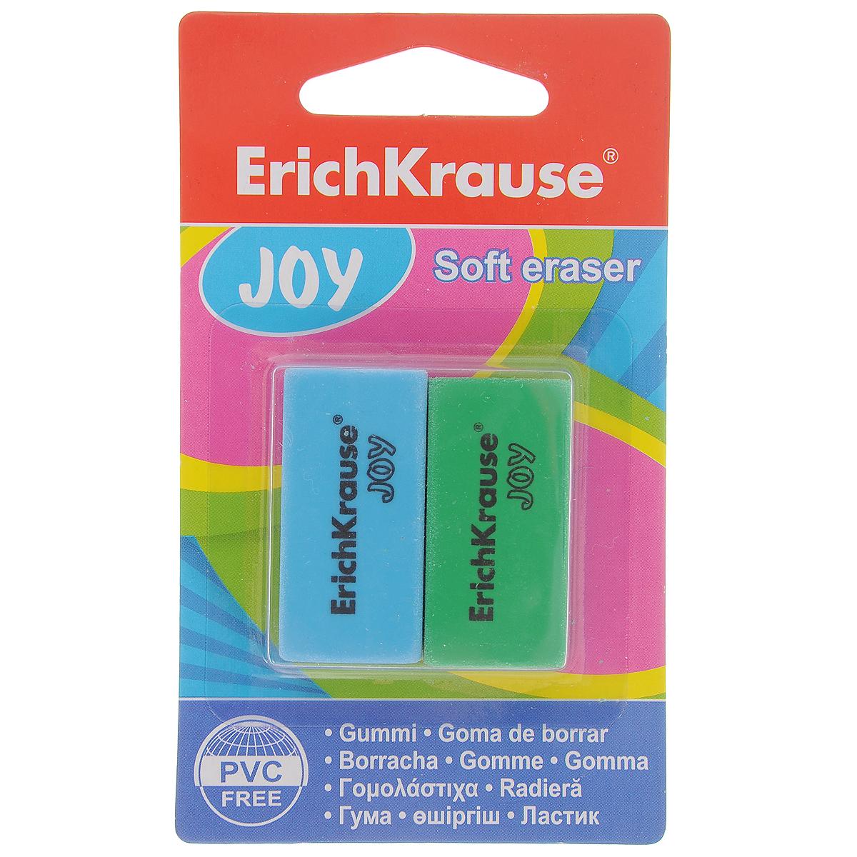 Набор ластиков Erich Krause Joy, 2 шт34650Набор ластиков Erich Krause Joyстанет незаменимым аксессуаром на рабочем столе не только школьника или студента, но и офисного работника. Он прекрасно удаляет линии, оставленные карандашами. При стирании стружка от ластика скатывается в единый комок, а не рассыпается по всей поверхности бумаги. В комплекте два ластика.