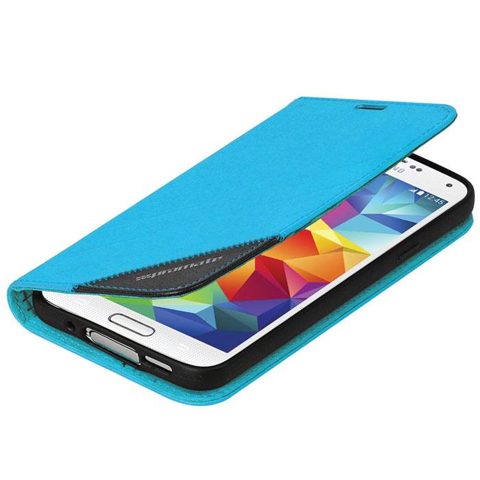 Promate Folio-S5 чехол для Samsung Galaxy S5, Blue00007916Promate Folio-S5 - защитный чехол, который обеспечивает оптимальную сохранность от царапин и потертостей. Когда смартфон не используется, магнитный замок на кожаном язычке надежно фиксирует крышку и обеспечивает сохранность экрана. Также чехол можно использовать в качестве горизонтальной подставки под смартфон. Доступен в разных цветах, что позволяет выбрать чехол в полном соответствии с вашим индивидуальным стилем.