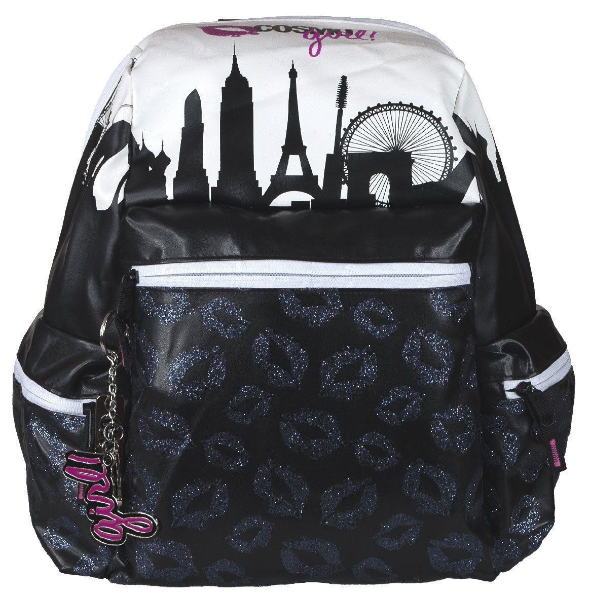 Сумка-рюкзак молодежная Cosmopolitan, цвет: черный, белый. CMCB-UT1-763CMCB-UT1-763Стильная молодежная сумка-рюкзак Cosmopolitan выполнена из прочного материала черного и белого цветов и дополнена тремя брелоками.Содержит одно вместительное отделение на застежке-молнии. Внутри отделения находятся: прорезной карман на молнии, два открытых кармашка и и два отделения для пишущих принадлежностей. На лицевой стороне расположен накладной карман на молнии. По бокам имеются два накладных кармана также на молнии. Изделие оснащено текстильными плечевыми лямками регулируемой длины и ручкой из пластика для переноски в руке.Эту сумку-рюкзак можно использовать для повседневных прогулок, отдыха, а также как элемент вашего имиджа.Рекомендуемый возраст: от 12 лет.