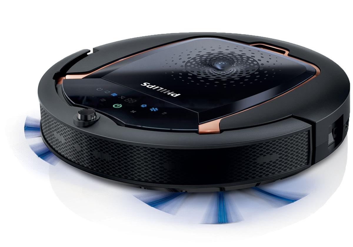 Philips SmartPro Active FC8820/01 робот-пылесосFC8820/01Philips FC8820/01 - это робот-пылесос, который выполняет уборку за вас. Благодаря системе Smart Detection робот-пылесос выбирает оптимальный режим для тщательной уборки дома.Система Smart Detection Новый робот-пылесос оснащен системой Smart Detection, которая представляет собой набор из интеллектуальных датчиков (до 22 шт.), гироскопа и акселерометра, что позволяет устройству самостоятельно выполнять уборку. Робот анализирует обстановку и выбирает оптимальный режим для максимально быстрой уборки. Робот-пылесос не застревает на месте и возвращается на док-станцию, когда это необходимо. ИК-датчики для обнаружения и объезда препятствий Philips FC8820/01 оснащен шестью ИК-датчиками, которые отслеживают препятствия, например стены, осветительные приборы и кабели. Это позволяет прибору объехать препятствия и в то же время провести тщательную очистку напольного покрытия. Наконец вы можете наслаждаться чистым домом без вашего вмешательства. 3-этапная система очистки с функцией сухой уборки Сначала две длинные щетки направляют грязь и пыль по траектории движения робота-пылесоса. Затем насадка собирает всю пыль и грязь благодаря мощному мотору. В конце съемная насадка для салфеток собирает самую мелкую пыль, улучшая результат уборки. Благодаря датчику пыли робот-пылесос автоматически распознает области, в которых скопилось много пыли, и задерживается в них на несколько секунд дольше для выполнения более тщательной очистки.Робот-пылесос позволяет создавать расписание на всю неделю, поэтому вы сможете запрограммировать план уборки на ближайшие 7 дней и задать разное время уборки для каждого дня. Даже если вас нет дома, робот-пылесос приступает к работе, чтобы всегда поддерживать чистоту и порядок. При низком уровне заряда аккумулятора робот-пылесос Philips автоматически возвращается на док-станцию для выполнения зарядки, после чего он будет снова готов к работе.Мощный литий-ионный аккумулятор не требует столь же долгой зар