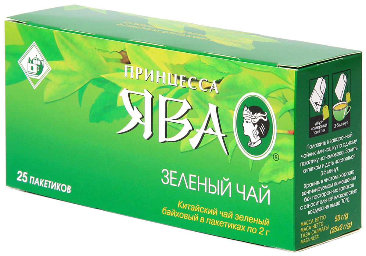Принцесса Ява зеленый чай в пакетиках, 25 шт0222-72Зеленый чай в пакетиках Принцесса Ява - классический китайский чай. Идеальный напиток для людей, которые заботятся о своем здоровье.Всё о чае: сорта, факты, советы по выбору и употреблению. Статья OZON Гид