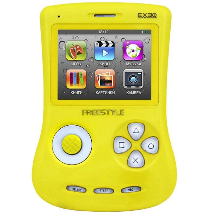 Игровая консоль EXEQ FreeStyle 2,7 (желтая)MP-1002_желтыйExeq Freestyle - это игровая приставка с богатыми мультимедийными возможностями, позволяющая играть в игры таких форматов, как NES (Dendy), SMD (Mega Drive) и GBA (GameBoy Advance), просматривать фильмы, слушать музыку, радио, читать книги. Оригинальная и стильная форма корпуса, воплощенная в качественном глянцевом пластике, яркий цветной экран, встроенная камера, AV-выход и многие другие приятные особенности приставки не оставят равнодушным к ней ни детей, ни взрослых.Неповторимый дизайн и яркие цвета.Exeq Freestyle - портативная игровая консоль с уникальным дизайном корпуса. В отличие от большинства современных портативных консолей Exeq Freestyle имеет вертикальное расположение - дисплей консоли расположен в верхней части корпуса, а все элементы управления в нижней - под экраном. Удачно дополняет дизайн приставки плавная обтекаемая форма, закругленные кнопки, и глянцевая поверхность. Также на выбор предлагается 8 вариантов цветового исполнения корпуса: белый, черный, синий, красный, желтый, розовый, фиолетовый, зеленый. Яркие цвета приставок удачно дополняет перламутровый эффект.Игровая составляющая.Exeq Freestyle поддерживает игры от Dendy, Sega, Super Nintendo и Game Boy Advance. Консоль отлично воспроизводит двухмерные игры различных жанров, а также трехмерные с улучшенной графикой. В качестве бонуса на приставке уже установлено 700 самых популярных игр каждой из поддерживаемых платформ. Однако при желании Exeq Freestyle легко можно подключить к компьютеру и пополнить коллекцию новыми играми. Для хранения игр приставка имеет 4 Gb встроенной памяти, а также поддерживает карты формата Micro SD.Просмотр видео.Exeq Freestyle оснащен ярким и контрастным дисплеем с диагональю в 2,7 дюйма (68 мм), этого вполне достаточно для просмотра видео, особенно если вы хотите скоротать время в дороге или на отдыхе: компактные размеры консоли позволят удобно разместить ее на ладони во время просмотра. Exeq Freestyle способе