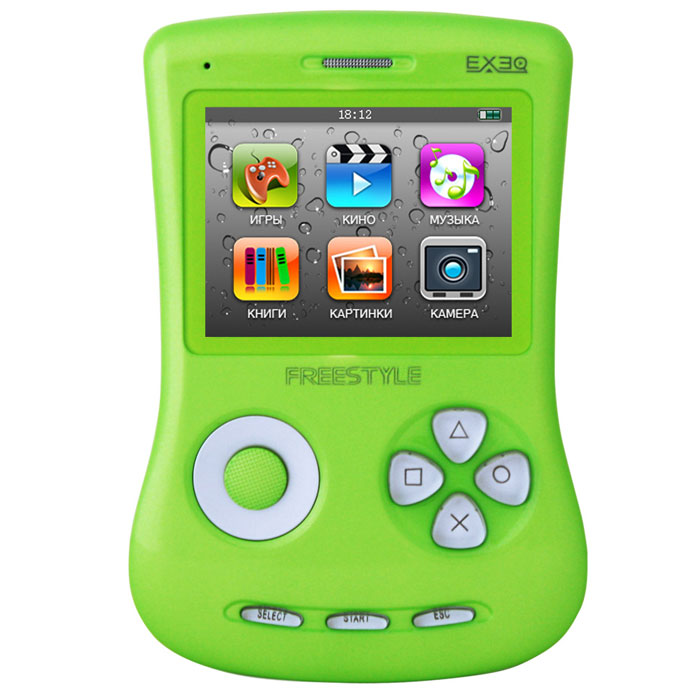 Игровая консоль EXEQ FreeStyle 2,7 (зеленая)MP-1002_зеленыйExeq Freestyle - это игровая приставка с богатыми мультимедийными возможностями, позволяющая играть в игры таких форматов, как NES (Dendy), SMD (Mega Drive) и GBA (GameBoy Advance), просматривать фильмы, слушать музыку, радио, читать книги. Оригинальная и стильная форма корпуса, воплощенная в качественном глянцевом пластике, яркий цветной экран, встроенная камера, AV-выход и многие другие приятные особенности приставки не оставят равнодушным к ней ни детей, ни взрослых.Неповторимый дизайн и яркие цвета.Exeq Freestyle - портативная игровая консоль с уникальным дизайном корпуса. В отличие от большинства современных портативных консолей Exeq Freestyle имеет вертикальное расположение - дисплей консоли расположен в верхней части корпуса, а все элементы управления в нижней - под экраном. Удачно дополняет дизайн приставки плавная обтекаемая форма, закругленные кнопки, и глянцевая поверхность. Также на выбор предлагается 8 вариантов цветового исполнения корпуса: белый, черный, синий, красный, желтый, розовый, фиолетовый, зеленый. Яркие цвета приставок удачно дополняет перламутровый эффект.Игровая составляющая.Exeq Freestyle поддерживает игры от Dendy, Sega, Super Nintendo и Game Boy Advance. Консоль отлично воспроизводит двухмерные игры различных жанров, а также трехмерные с улучшенной графикой. В качестве бонуса на приставке уже установлено 700 самых популярных игр каждой из поддерживаемых платформ. Однако при желании Exeq Freestyle легко можно подключить к компьютеру и пополнить коллекцию новыми играми. Для хранения игр приставка имеет 4 Gb встроенной памяти, а также поддерживает карты формата Micro SD.Просмотр видео.Exeq Freestyle оснащен ярким и контрастным дисплеем с диагональю в 2,7 дюйма (68 мм), этого вполне достаточно для просмотра видео, особенно если вы хотите скоротать время в дороге или на отдыхе: компактные размеры консоли позволят удобно разместить ее на ладони во время просмотра. Exeq Freestyle спосо