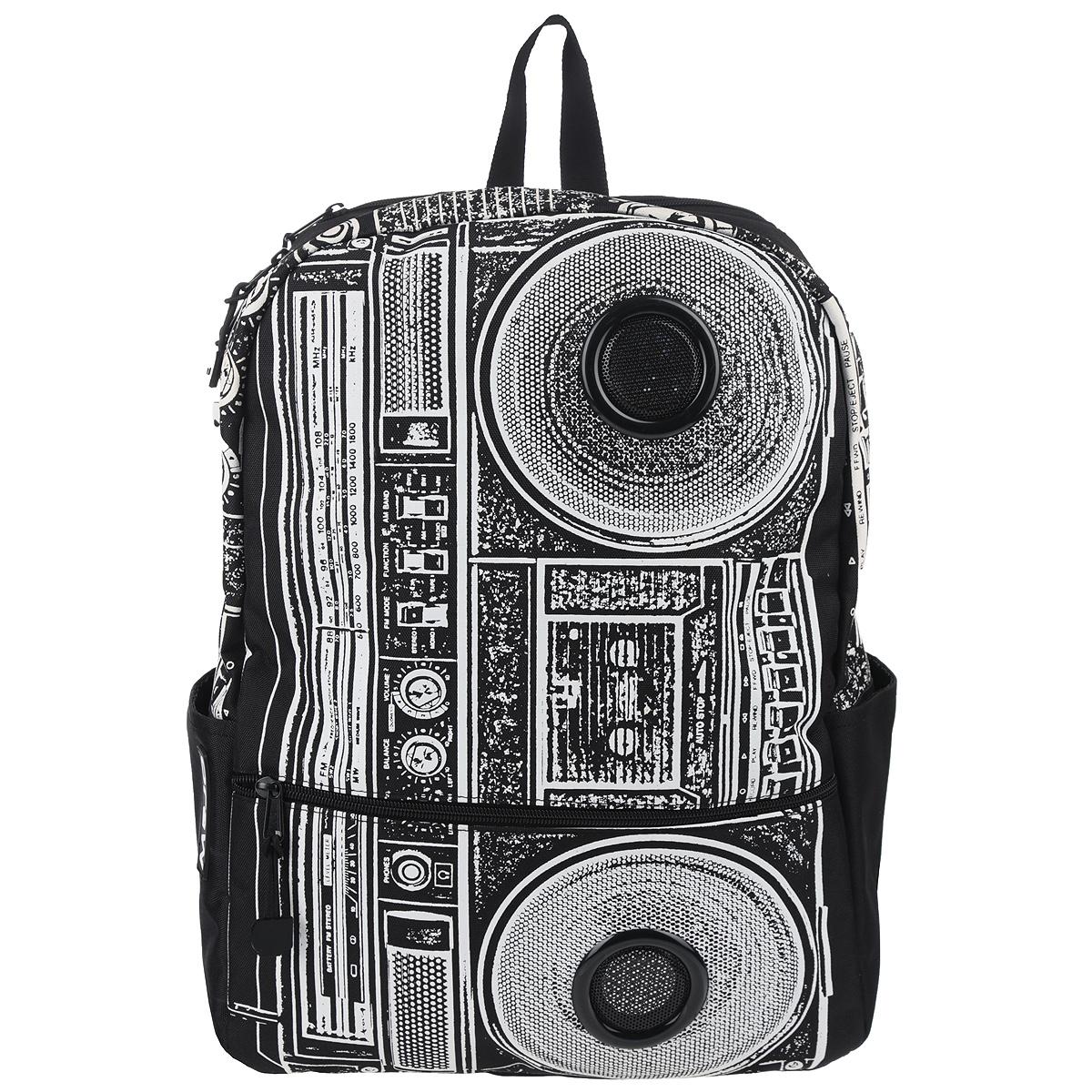 Рюкзак Mojo Pax Boombox, с динамиками, цвет: черный, белый. KZ9983489 mojo pax mojo pax рюкзак black dragon черный